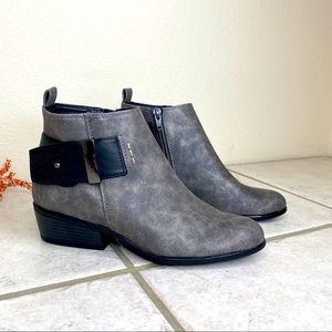 White Mountain silver gray heeled ankle booties